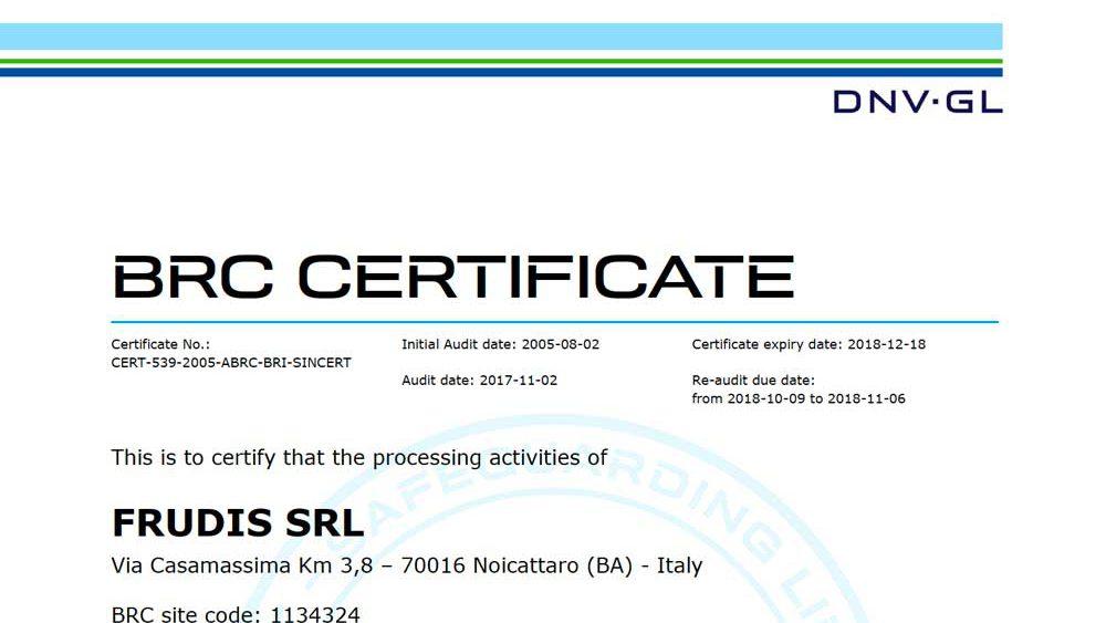 certificazione BRC